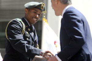 Rahm Emanuel (right) congratulates Brandon Wilson a student at the Chicago Military Academy for winning the Cadet of the Year Award. | Michael Schmidt/Sun-Times